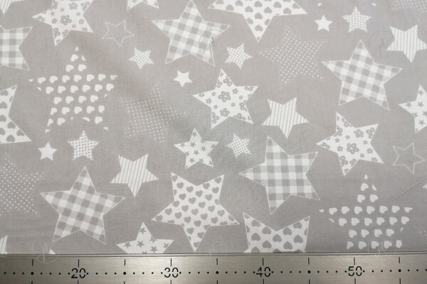 Fehér mintás csillagos pamutvászon