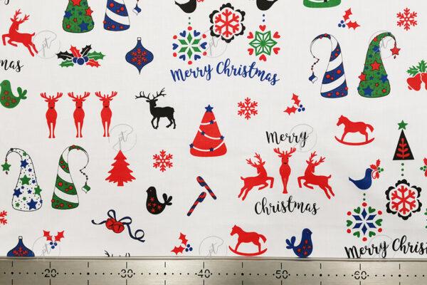 karácsony mintás pamutvászon