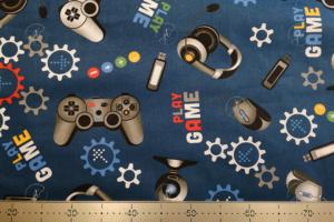 Game mintás pamutvászon kék
