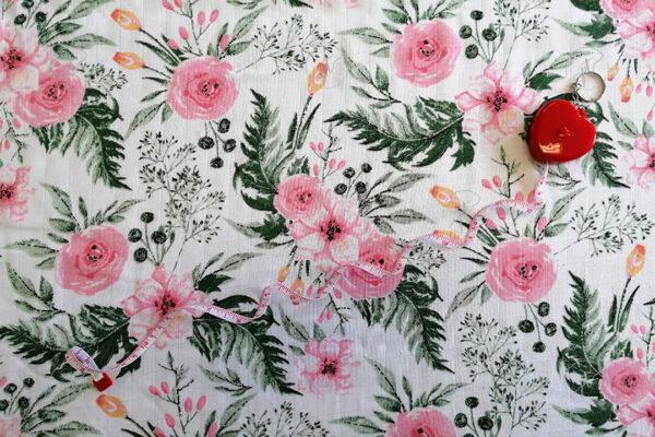 muszlin pelenka rózsaszín virágos
