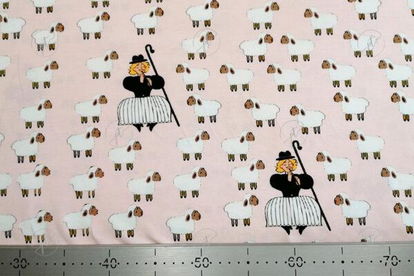 rózsaszín alapon csillagszemű juhász elasztikus jersey póló anyag