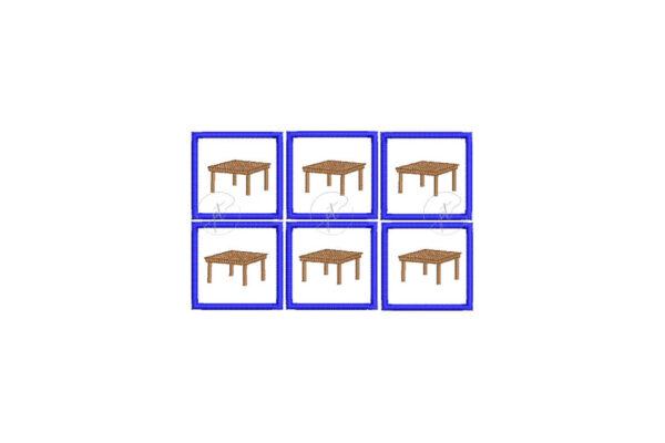 Asztal hímzett ovisjel