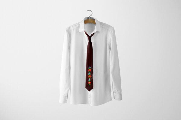Kalocsai sormintás hímzett bordó nyakkendő