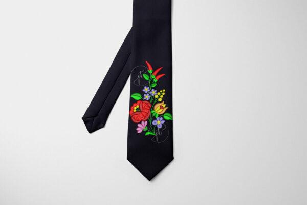 kalocsai csokor mintás nyakkendő fekete
