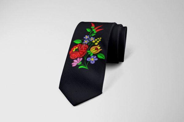 kalocsai csokormintás nyakkendő fekete