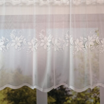 Fehér virágos nagy hullámos jacquard vitrage függöny