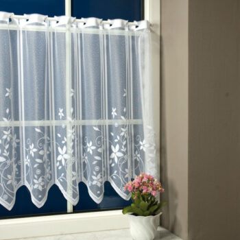Virágos bordűrös vitrage függöny